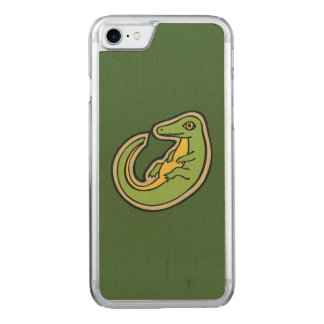 Cute Green And Yellow Alligator Drawing Design Carved iPhone 7 Case