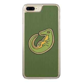 Cute Green And Yellow Alligator Drawing Design Carved iPhone 7 Plus Case