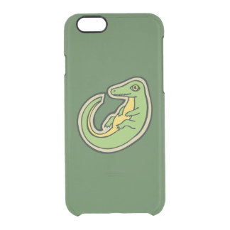 Cute Green And Yellow Alligator Drawing Design Clear iPhone 6/6S Case