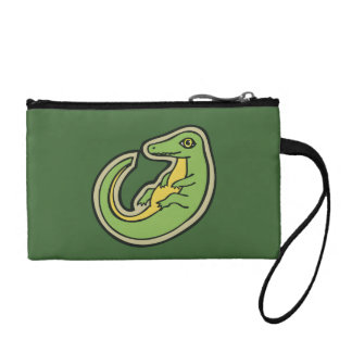 Cute Green And Yellow Alligator Drawing Design Coin Wallet
