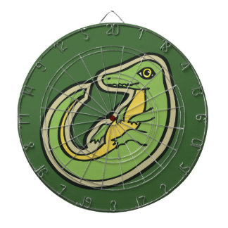 Cute Green And Yellow Alligator Drawing Design Dartboard With Darts