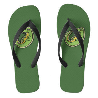 Cute Green And Yellow Alligator Drawing Design Flip Flops