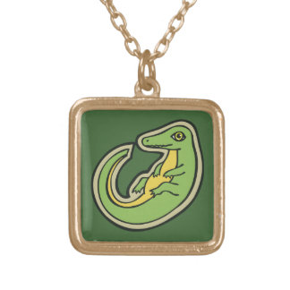 Cute Green And Yellow Alligator Drawing Design Gold Plated Necklace