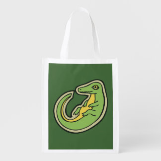 Cute Green And Yellow Alligator Drawing Design Grocery Bag