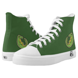 Cute Green And Yellow Alligator Drawing Design High-Top Sneakers
