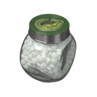 Cute Green And Yellow Alligator Drawing Design Jelly Belly Candy Jars