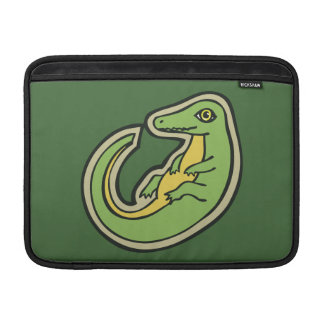 Cute Green And Yellow Alligator Drawing Design MacBook Sleeve