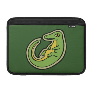 Cute Green And Yellow Alligator Drawing Design MacBook Sleeves