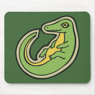 Cute Green And Yellow Alligator Drawing Design Mouse Pad