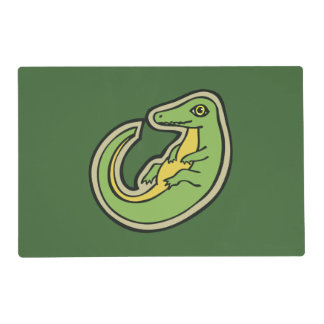 Cute Green And Yellow Alligator Drawing Design Placemat