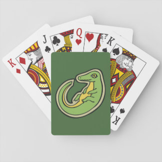 Cute Green And Yellow Alligator Drawing Design Playing Cards