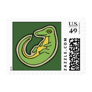 Cute Green And Yellow Alligator Drawing Design Postage Stamp