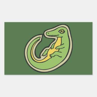 Cute Green And Yellow Alligator Drawing Design Rectangular Sticker