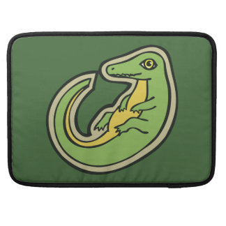 Cute Green And Yellow Alligator Drawing Design Sleeve For MacBook Pro