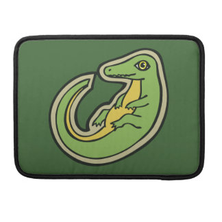 Cute Green And Yellow Alligator Drawing Design Sleeve For MacBooks