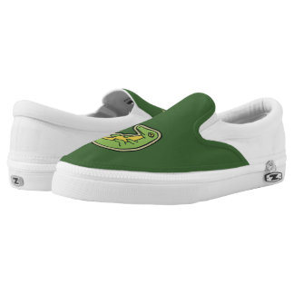 Cute Green And Yellow Alligator Drawing Design Slip-On Sneakers