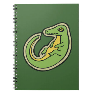 Cute Green And Yellow Alligator Drawing Design Spiral Notebook