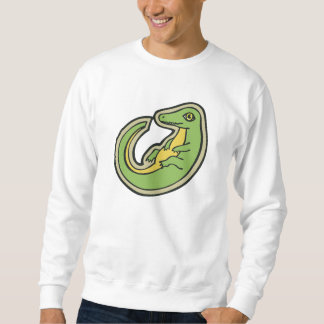 Cute Green And Yellow Alligator Drawing Design Sweatshirt