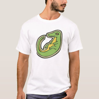 Cute Green And Yellow Alligator Drawing Design T-Shirt