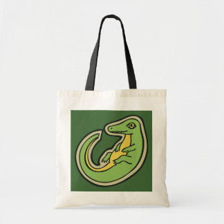 Cute Green And Yellow Alligator Drawing Design Tote Bag