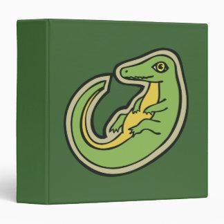 Cute Green And Yellow Alligator Drawing Design Vinyl Binder