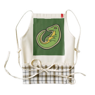 Cute Green And Yellow Alligator Drawing Design Zazzle HEART Apron