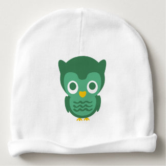 Cute Green And Yellow Cartoon Owl 2 Baby Beanie