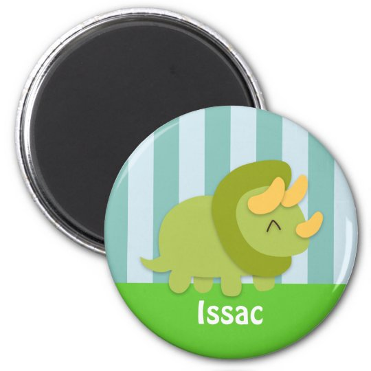 Cute Green and Yellow Triceratops Kids Magnet