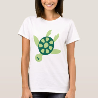 Cute green animation cartoon turtle illustration T-Shirt