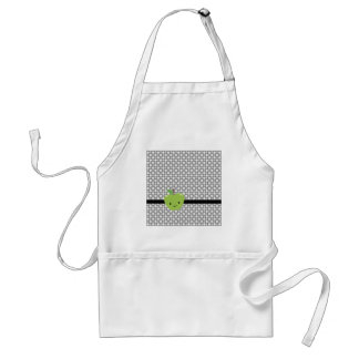 Cute Green Apple and Gray Patterned Adult Apron