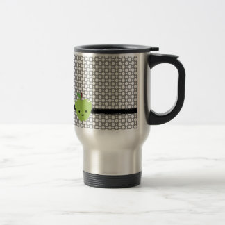 Cute Green Apple and Gray Patterned Stainless Steel Travel Mug