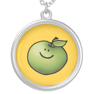 Cute green apple round pendant necklace