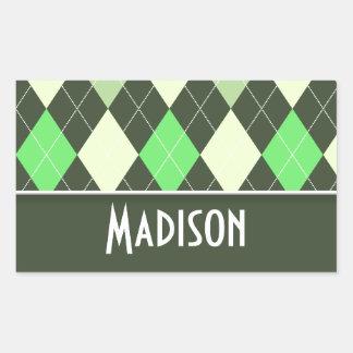 Cute Green Argyle Pattern Rectangular Sticker