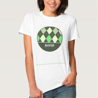 Cute Green Argyle Pattern T Shirt