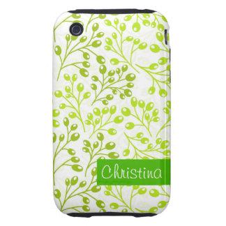Cute green autumn berries tough iPhone 3 case