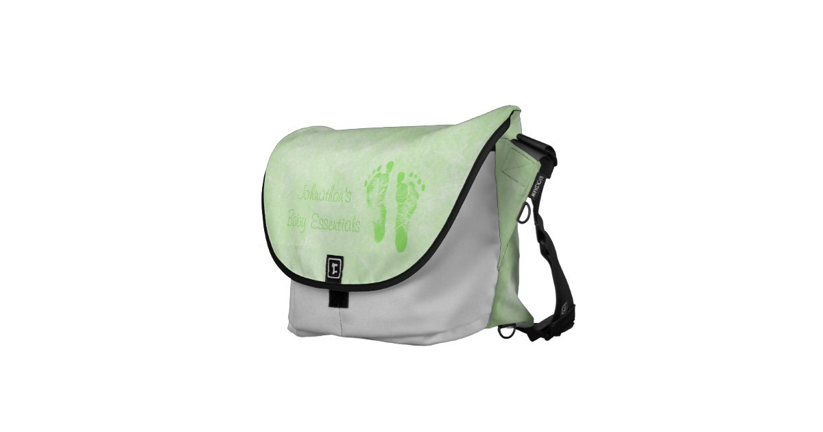 cute green baby boy or girl footprints diaper bag courier bags zazzle. Black Bedroom Furniture Sets. Home Design Ideas