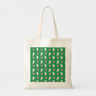 Cute green baby bunny easter pattern budget tote bag