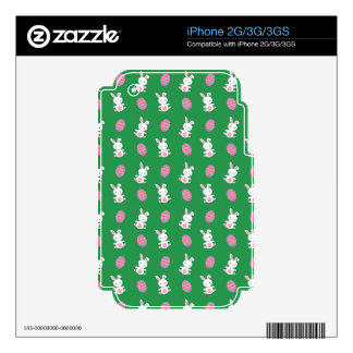 Cute green baby bunny easter pattern iPhone 3 decal
