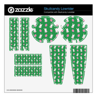 Cute green baby bunny easter pattern skullcandy decals