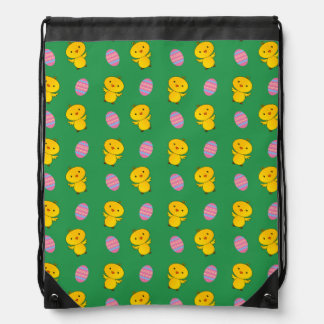 Cute green baby chick easter pattern drawstring bags