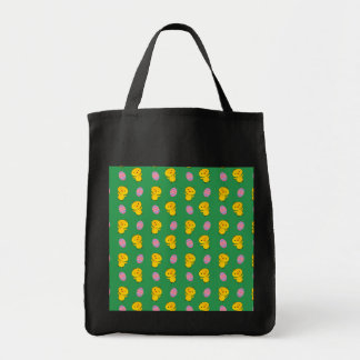 Cute green baby chick easter pattern grocery tote bag