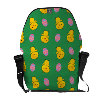 Cute green baby chick easter pattern messenger bag