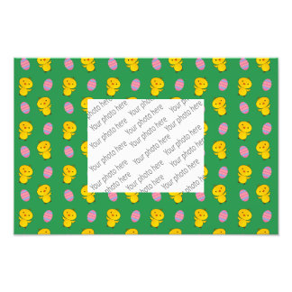 Cute green baby chick easter pattern photographic print