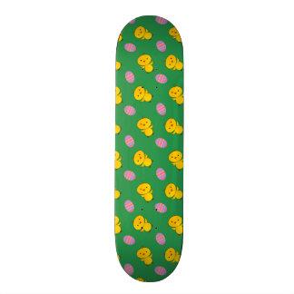 Cute green baby chick easter pattern skate board decks