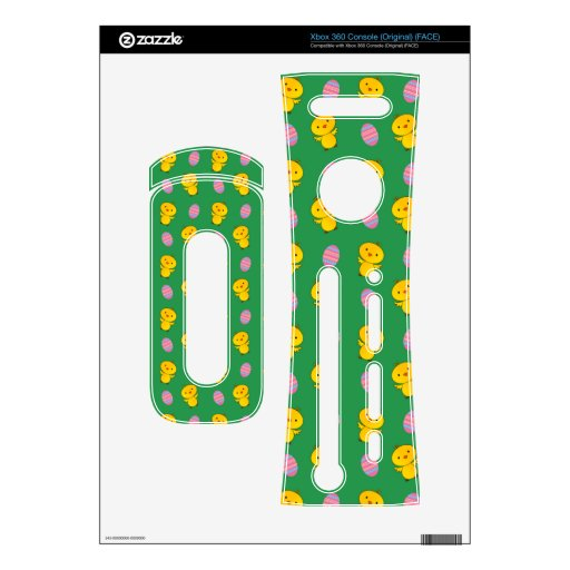 Cute green baby chick easter pattern xbox 360 decals