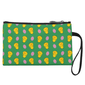 Cute green baby chick easter pattern wristlet