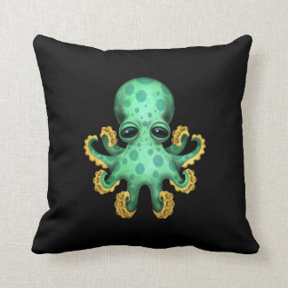 Cute Green Baby Octopus on Black Throw Pillow