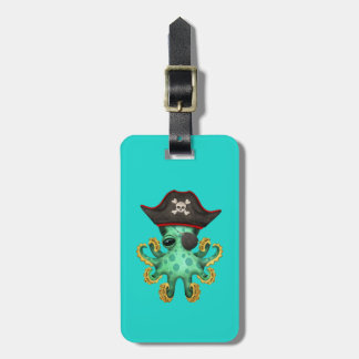 Cute Green Baby Octopus Pirate Bag Tag