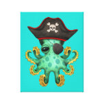 Cute Green Baby Octopus Pirate Canvas Print