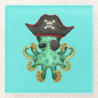 Cute Green Baby Octopus Pirate Glass Coaster